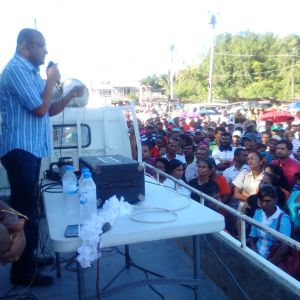 Opposition Leader, Bharrat Jagdeo pledging his People's Progressive Party Civic's solidarity to the Wales Sugar Estate workers following government's announcement that the estate and factory would be closed in October, 2016.