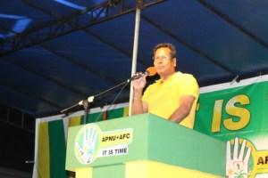 Robert Badal addressing an APNU+AFC rally at Anna Regina ahead of the May 11, 2015 general elections.