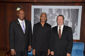 Minister of State, Mr. Joseph Harmon, President David Granger and Ambassador Lineu Pupo De Paula at the Ministry of the Presidency.