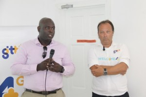 GTT's Chief Executive Officer, Justin Nedd (left) and the company's Chief Commercial Officer, Gert Post speaking with the media at the launch of the 4G service.
