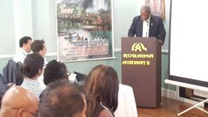 Former Chief-of-Staff of the Guyana Defence Force (GDF), Retired Brigadier, Mark Phillips addressing the Security Seminar organised by the Georgetown Chamber of Commerce and Industry (GCCI).
