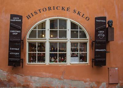 Prague. Hradčany. An artisanal glass shop