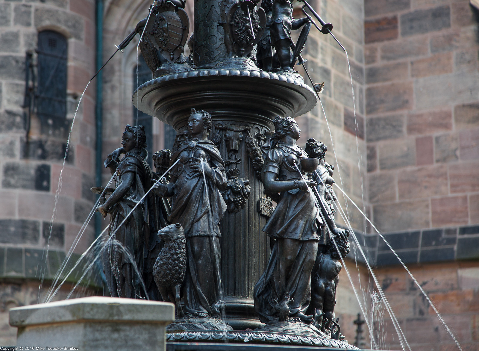 Nuremberg. Tugendbrunnen, or the Fountain of Virtues at Lorenzplatz