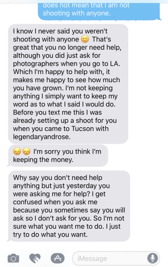 Sixth Alicia Nicole Castillo text messages Demi Bang after Alicia scammed Demi.