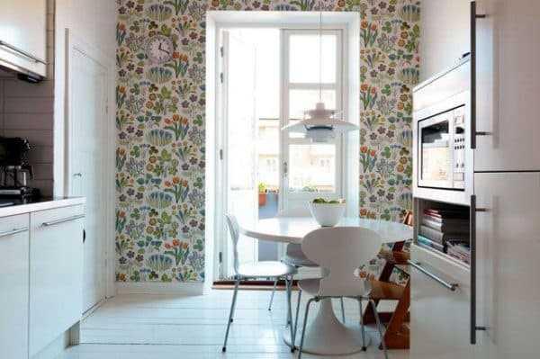 Как выделить обоями обеденную зону на кухне – Сочетание ...