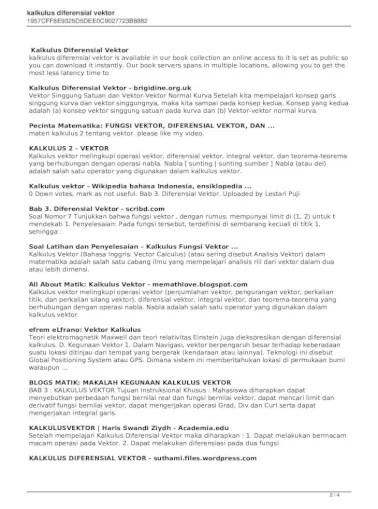 Buku ajar kalkulus 1 ini dibuat sebagai bahan kuliah di teknik elektro strata 1 pada program studi teknik elektro universitas pamulang. Kalkulus Diferensial Kalkulus Diferensial Vektor Is Available In Our Book Collection An Online Access Pdf Document
