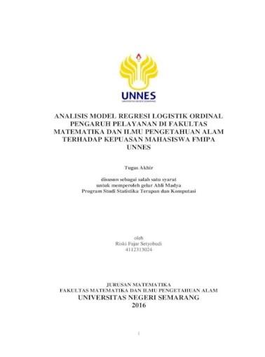Khususnya bidang komputasi, bisnis & industri, ekonomi & finansial,. Analisis Model Regresi Logistik Ordinal Pengaruh Variabel Aspek Administrasi Program Pendidikan Pdf Document