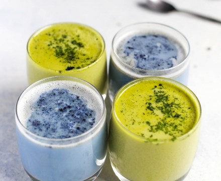 Blue and Green Matcha Lattes