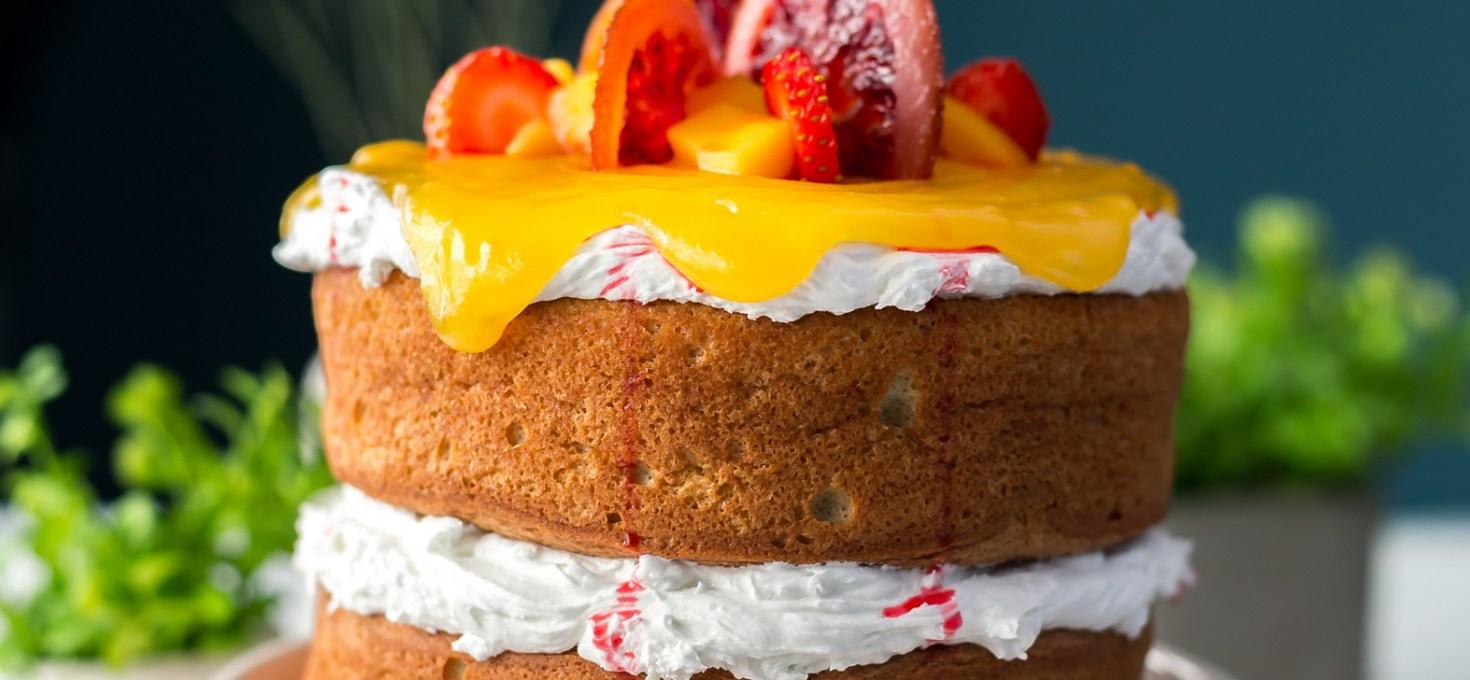 Blood Orange Chiffon Cake with Mango Curd