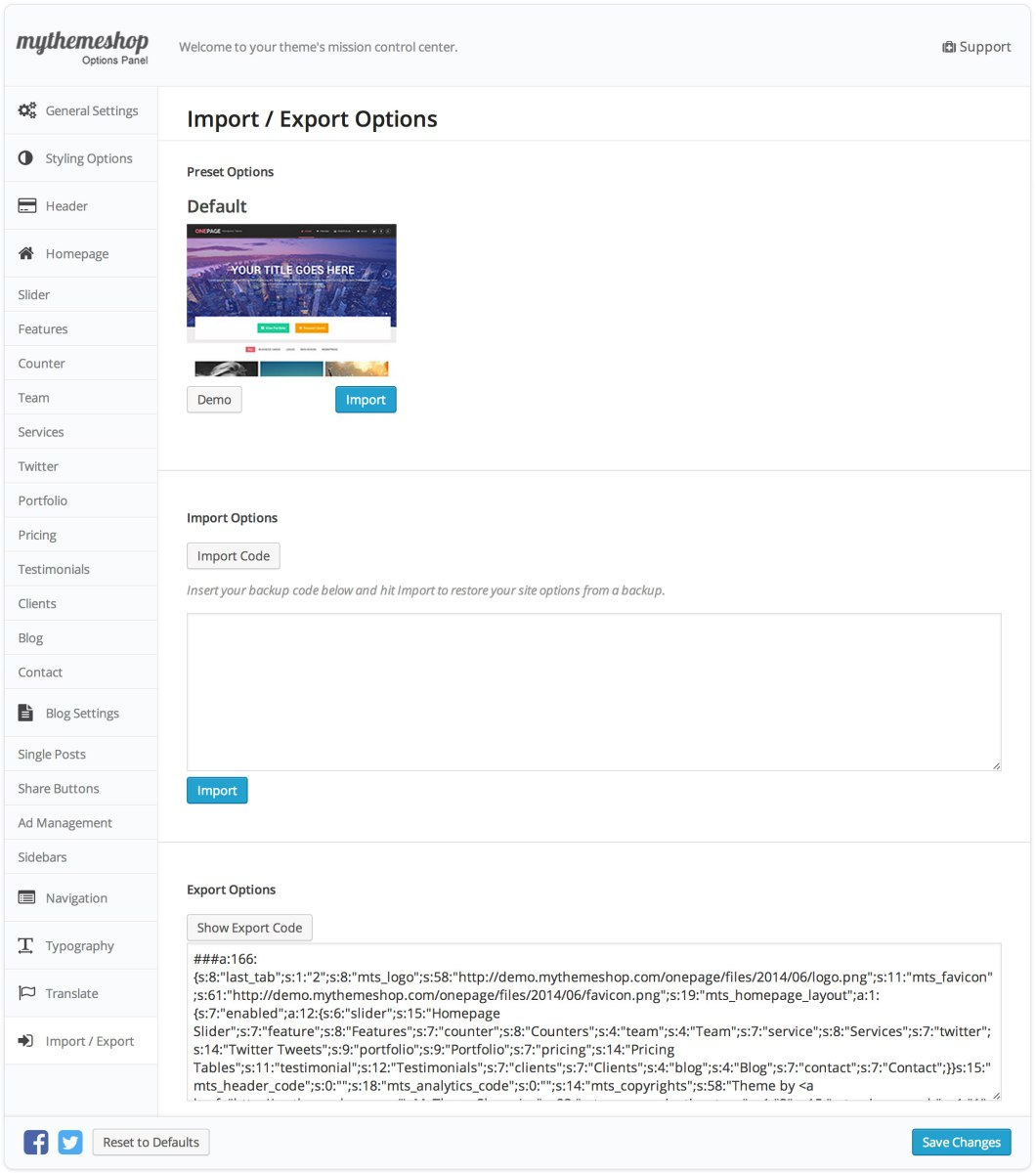 Onepage Import Export Settings