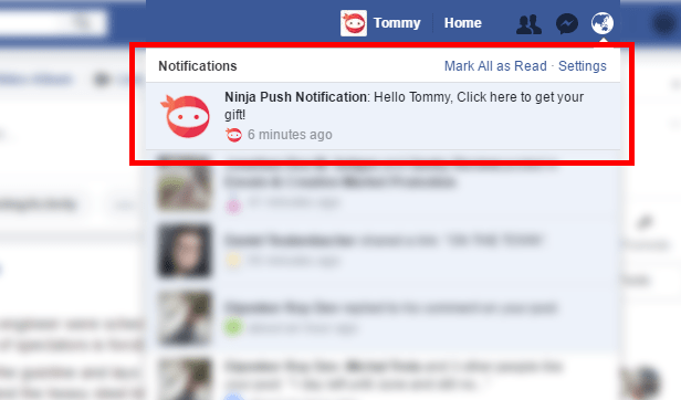 Facebook Notification Screenshot