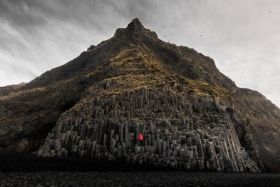 Reynisfjara, Iceland. Self-portrait captured among some unbelievable basalt columns only a stone's throw from the Atlantic ocean at Reynisfjara, Iceland in February 2017.