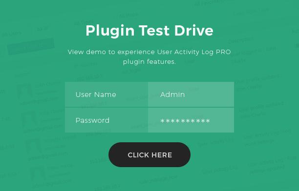 User Activity Log Pro Live demo