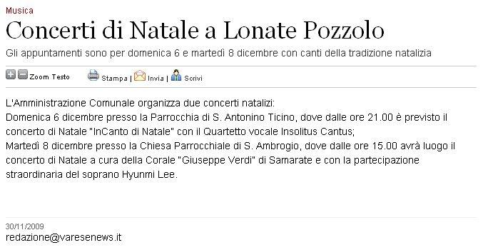 Varesenews del 30 novembre 2009