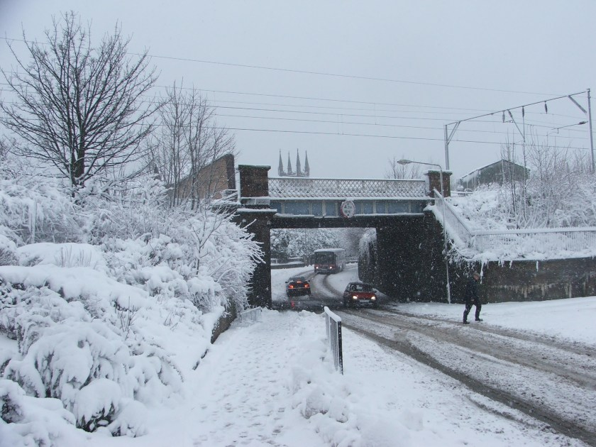 SNOW - railway bridge at Bonhill Road.JPG
