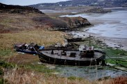 Donegal - old trawlers on the beach on Cruit Island off Kincasslagh in Donegal