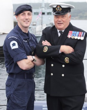 SCOTS-BASED ROYAL NAVY MINE HUNTER SETS SAIL FOR GULF DEPLOYMENT Pictured here, WO Paul Hutchinson on his last deployment and Ab Dylan Toomey on his first. SCOTS-based Royal Navy mine hunter HMS Shoreham left her home port at HM Naval Base Clyde today (June 18) to embark on a 6,000 mile journey to the Gulf region. The 40 men and women on board the Sandown Class Mine Counter Measures Vessel (known as an MCMV) waved farewell to friends and families as they set sail from the Argyll and Bute Base to take over from sister-ship HMS Bangor who has spent the past three-years in the Middle East. Sailing the ship was Crew 3 from the First Mine Counter Measures Squadron (MCM1), the Faslane-based force which forms part of the UK's dedicated Mine Warfare Battle Staff.