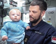 SCOTS-BASED ROYAL NAVY MINE HUNTER SETS SAIL FOR GULF DEPLOYMENT Pictured here LH Ryan Mcphail and Nephew Nathan Mcphail. SCOTS-based Royal Navy mine hunter HMS Shoreham left her home port at HM Naval Base Clyde today (June 18) to embark on a 6,000 mile journey to the Gulf region. The 40 men and women on board the Sandown Class Mine Counter Measures Vessel (known as an MCMV) waved farewell to friends and families as they set sail from the Argyll and Bute Base to take over from sister-ship HMS Bangor who has spent the past three-years in the Middle East. Sailing the ship was Crew 3 from the First Mine Counter Measures Squadron (MCM1), the Faslane-based force which forms part of the UK's dedicated Mine Warfare Battle Staff.
