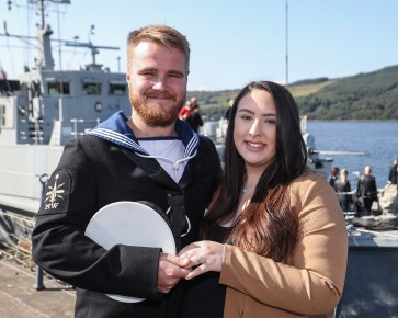 HMS Bangor Returns Pictured here AB Mine Warfare Joshua Betman proposes to Hazel Staunton HMS Bangor, one of the Royal Navy's seven Sandown-class mine countermeasures ships, has left Bahrain after three years of Middle East heat and returned back to her home in Faslane, Scotland. Families lined the jetty to welcome the Faslane based MCMV home after three years in Bahrain. Over the past three years the ships have surveyed across the Gulf, visited 15 different countries, entertained countless VIPs and once in their home ports, will have travelled more than 40,000 nautical miles each.