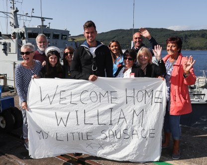 HMS Bangor Returns Pictured here William Brenton and family HMS Bangor, one of the Royal Navy's seven Sandown-class mine countermeasures ships, has left Bahrain after three years of Middle East heat and returned back to her home in Faslane, Scotland. Families lined the jetty to welcome the Faslane based MCMV home after three years in Bahrain. Over the past three years the ships have surveyed across the Gulf, visited 15 different countries, entertained countless VIPs and once in their home ports, will have travelled more than 40,000 nautical miles each. *** Local Caption *** consent held