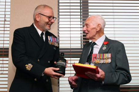 A VETERAN Royal Navy sailor has recently been awarded France's highest order of merit for his valuable service during the Second World War. Ninety-five-year-old Harry Johnson was presented with the Legion of Honour on August 21 at HM Naval Base Clyde. Harry, originally from London but now living in Helensburgh, was presented with his medal by Emmanuel Cocher of the French Consulate on behalf of the President of France. The French government are currently recognising the sacrifice of British service personnel who served during the D-Day operations and around 5,000 medals have been awarded all over the United Kingdom.