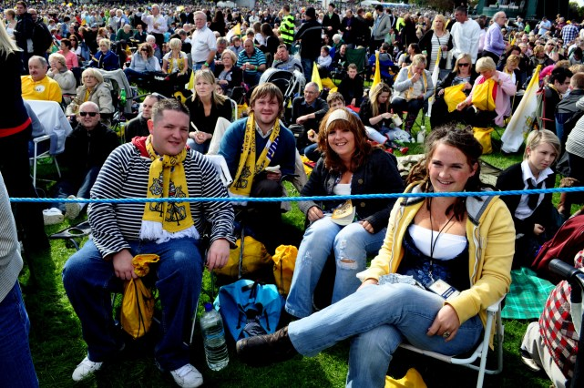 Papal Visit -- a large number of local people were in the crowd at Bellahouston in Glasgow.