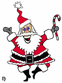 Santa jumping up and down