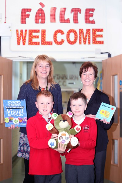 Gavinburn PS Gaelic classes PIC SHOWS Cllrs Karen Conaghan and Caroline McAllister with the Pupils