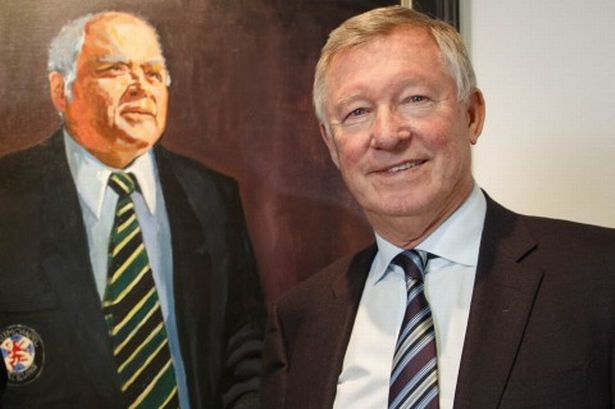 Alex Ferguson with the portrait of Douglas Smith of Ardmore, by Helensburgh..