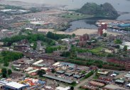 Central Station bridge (bottom left in this picture of Dumbarton from the air). Pic by Bill Heaney