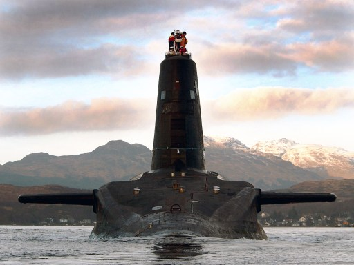 HMS Victorious, one of the Royal Navy's four strategic missile submarines, departs her home port at HM Naval Base Clyde at Faslane in Scotland today (13 January 2005) for her major refit which will take place at Devonport, Plymouth. Victorious and her sister submarines provide the UK's national deterrent and can carry up to 16 Trident nuclear missiles.