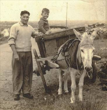 Connemara donkey picture Padraig Stioffan Seoghe and unknown boy