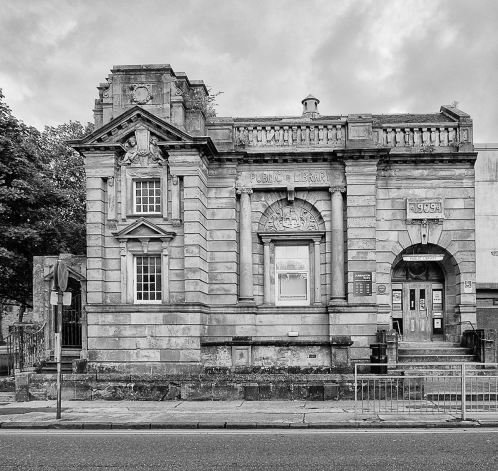 Library in black and white