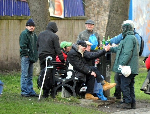 Homeless - Rough sleepers gather for a drinking session on the Meadows in Edinburgh