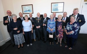 Civic Reception Civil Service Bowlers PIC SHOWS provost William Hendrie with the officals