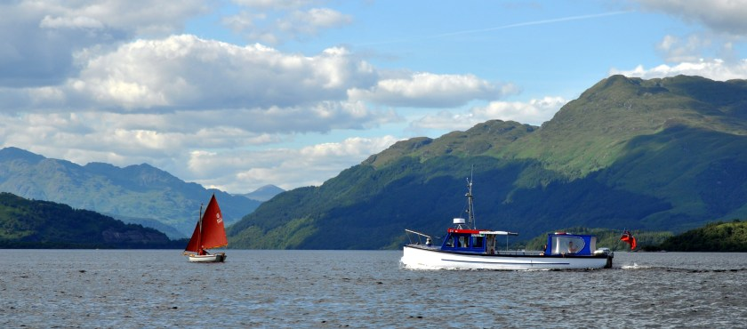 Loch Lomond view with boats and Ben