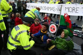 Camp - Faslane Peace Camp protest against Trident - Bairns not Bombs.