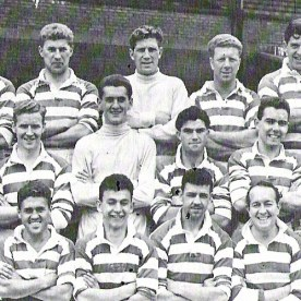 CELTIC team who won the League Cup with Peter Goldie (left centre row) and goalie Bernie McCready (centre row).