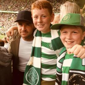 McGinlay Lennon with a pal and David Marshall the former Celtic keeper