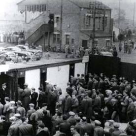 Boghead with fans queueing to get in in the good old days.