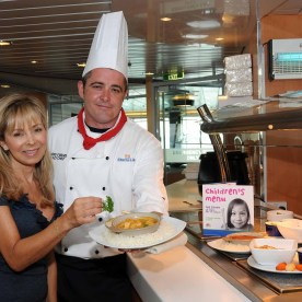 ANNABEL KARMEL GETS ONBOARD WITH STENA LINE...Celebrated nutritional expert Annabel Karmel and Stena Line chef Chris Evans pictured at the launch of the new menu by Annabel Karmel onboard Stena Line's five Irish Sea routes. Annabel has sold over 4 million books worldwide and has become the expert in getting children, no matter how fussy, to follow a healthier diet and the new menu will allow customers to provide children with healthy and tasty food choices when travelling.