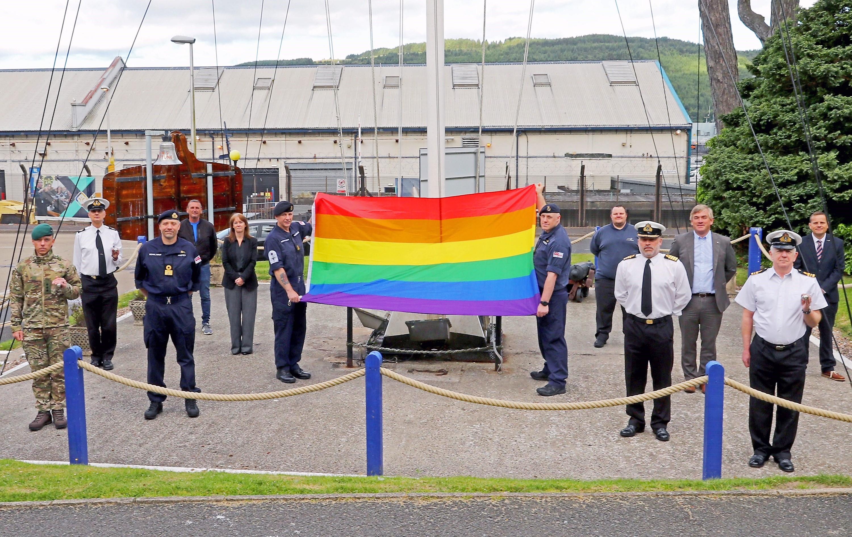 GAY PRIDE WEEK: RAINBOW FLAGS ARE FLOWN ACROSS CLYDE NAVAL BASE