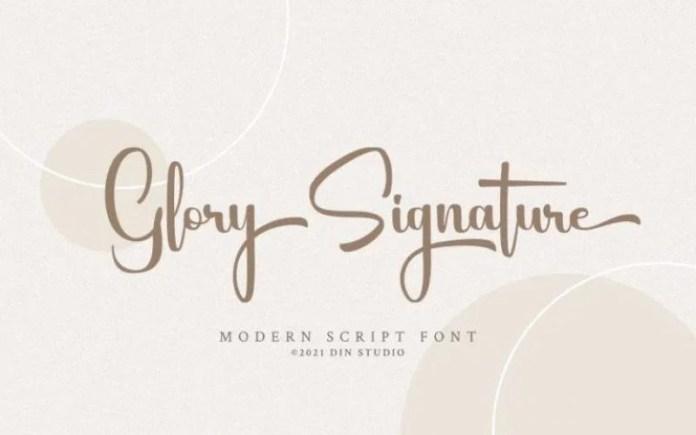 Glory Signature Script Font