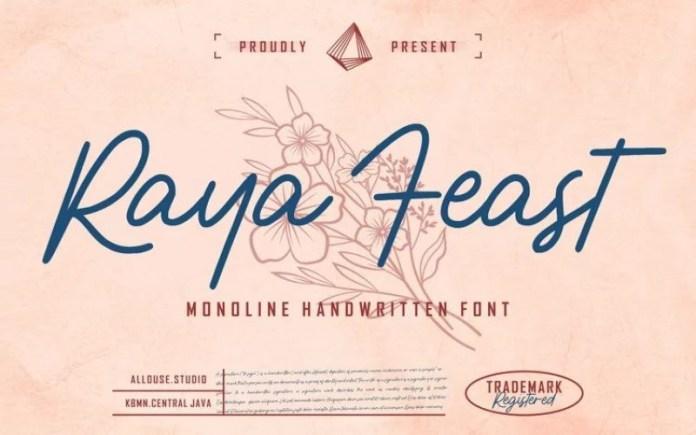 Raya Feast Handwritten Font