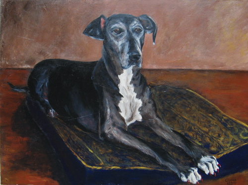 "Daddy's Girl (Portrait of Harley), acrylic, 18""x24"" ©Charlotte B. DeMolay"