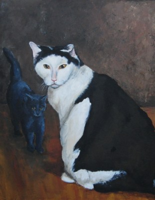 "Spot and Nakita, acrylic, 22""x28"" ©Charlotte B. DeMolay"