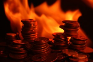 Coins Engulfed In Flames