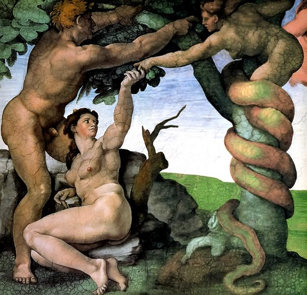 The devil's first attack on man in the garden of Eden.