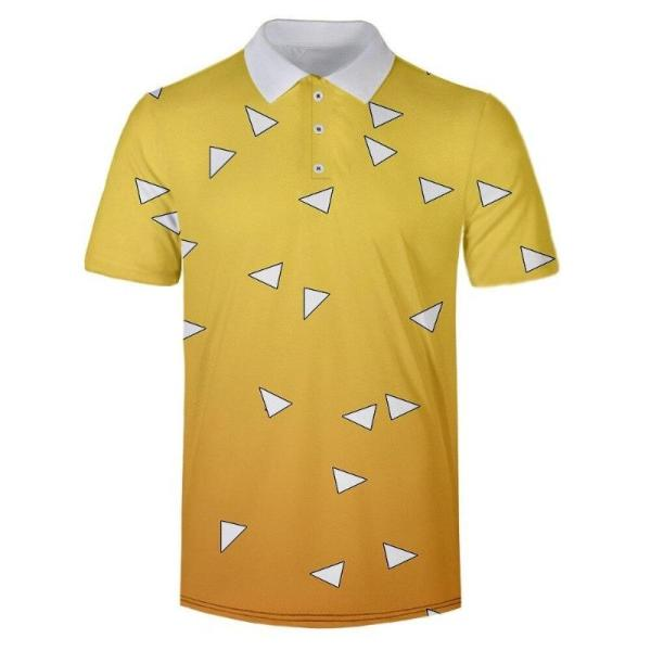 Zenitsu Agatsuma Pattern Polo Shirt - Demon Slayer Merch