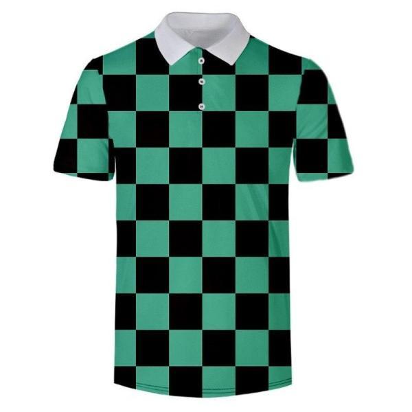 Tanjiro Kamado Pattern Polo Shirt - Demon Slayer Merch